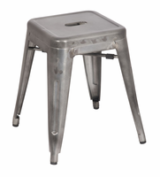 Chintaly Galvanized Steel Side Chair - Gun Metal Finish(8018) - 8018-SC-GUN