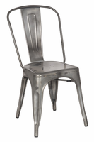Chintaly Galvanized Steel Side Chair - Gun Metal Finish(8022) - 8022-SC-GUN