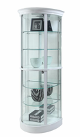 Chintaly Half Round Curio with Tempered Glass Shelf and Mirror Back - High Gloss White - 6619-CUR