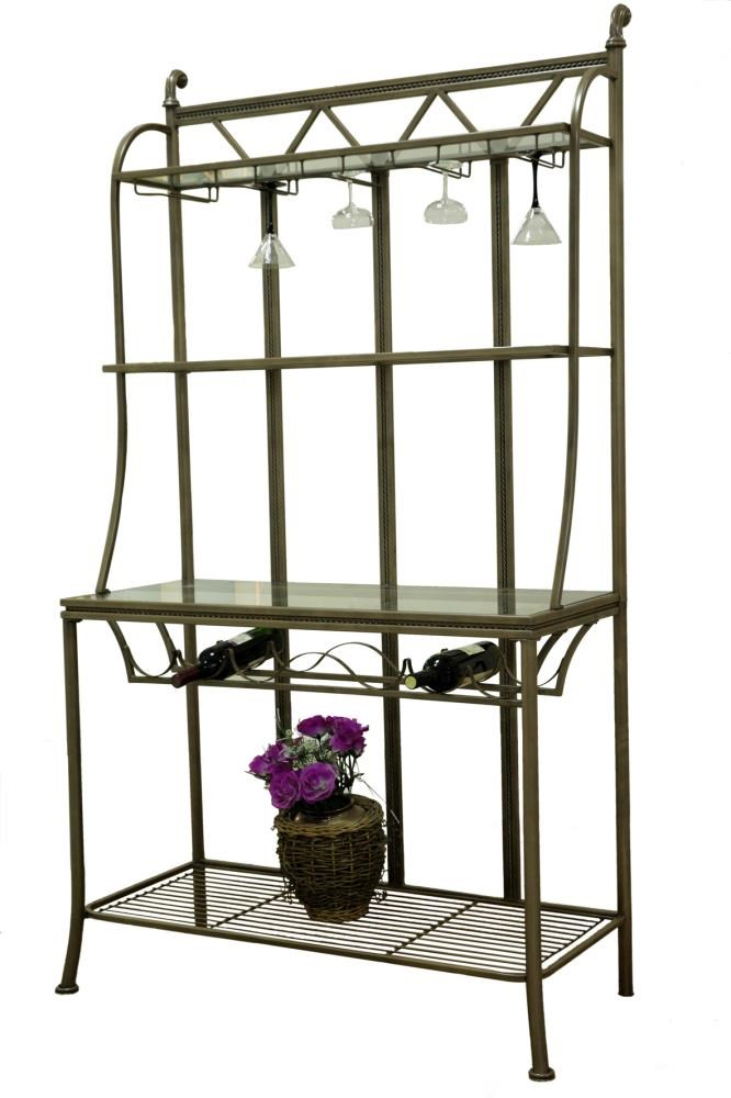 Chintaly Hand Painted Bronze Bakers Rack with Tempered Glass Shelves ...