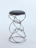 Chintaly Interlocking Multi-Ring Bar Stool - Brushed Stainless Steel Finish(BLK) - 0545-BS-BLK