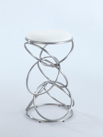 Chintaly Interlocking Multi-Ring Bar Stool - Brushed Stainless Steel Finish(WHT) - 0545-BS-WHT