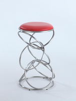 Chintaly Interlocking Multi-Ring Counter Stool - Brushed Stainless Steel Finish(RED) - 0545-CS-RED