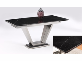Chintaly JESSY EXPANDABLE BLACK MARBLE DINING TABLE - JESSY-DT