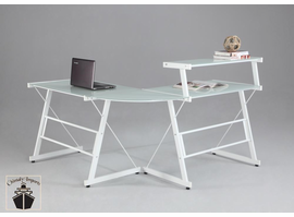 Chintaly L Shape Office Desk with Upper Shelf - White - 6944-DSK