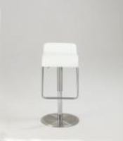 Chintaly Low Back Pneumatic Gas Lift Swivel Stool - Brushed SS Finish(1638) - WHT - 1638-AS-WHT