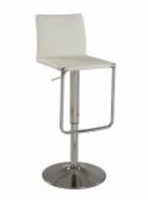 Chintaly Low Back Pneumatic Stool - Chrome Finish(WHT) - 0801-AS-WHT