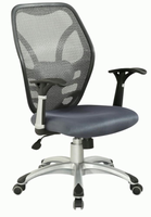 Chintaly Mesh Seat & Back Pneumatic Office Chair - Grey / Aluminum - 4220-CCH