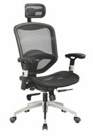 Chintaly Mesh Seat & Back w/Headrest Multi Adjustable Pneumatic Gas Lift Office Chair - Black / Aluminum - 4025-CCH