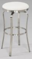 Chintaly Modern Backless Bar Stool - Brushed Stainless Steel Finish(1193) - WHT - 1193-BS-WHT