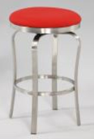 Chintaly Modern Backless Counter Stool - Brushed Stainless Steel Finish(1193) - RED - 1193-CS-RED