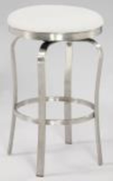 Chintaly Modern Backless Counter Stool - Brushed Stainless Steel Finish(1193) - WHT - 1193-CS-WHT