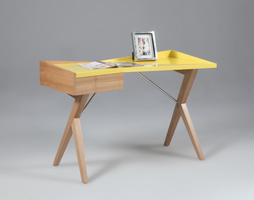 Chintaly Modern Office Desk with 1 Drawer - Solid Birch/Ash Veneer - 6951-DSK