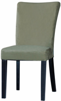 Chintaly Modern Parson Side Chair - Satin Black Finish with Green - MONICA-PRS-SC-GRN