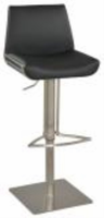 Chintaly Modern Pneumatic Stool - Brushed SS - 0854-AS-BLK