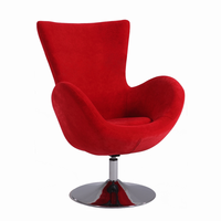 Chintaly Modern Swivel Arm Fun Chair - Chrome Finish(2001) - RED - 2001-ACC-RED