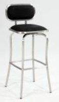 Chintaly Modern Swivel Bar Stool - Brushed Stainless Steel Finish(1192) - BLK - 1192-BS-BLK