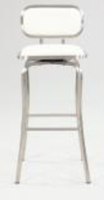 Chintaly Modern Swivel Bar Stool - Brushed Stainless Steel Finish(1192) - WHT - 1192-BS-WHT