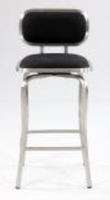 Chintaly Modern Swivel Counter Stool - Brushed Stainless Steel Finish(1192) - BLK - 1192-CS-BLK