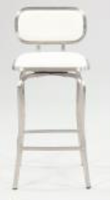 Chintaly Modern Swivel Counter Stool - Brushed Stainless Steel Finish(1192) - WHT - 1192-CS-WHT