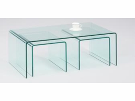 Chintaly Nested Bent Glass Cocktail Table - 3 table set - Clear Glass - 6022-CT