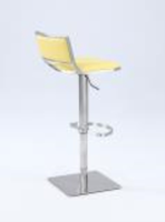 Chintaly Open Back Contemporary Pneumatic Stool - Brushed SS - 0895-AS-YLW