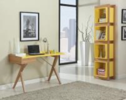Chintaly Open BookShelf w. 4 Colored Shelves - Ash Veneer - 6951-BKS