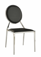 Chintaly Oval Shaped Back Side Chair - Chrome Finish - LISA - Black