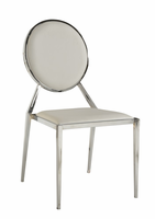 Chintaly Oval Shaped Back Side Chair - Chrome Finish LISA - White - SC