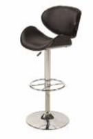 Chintaly Oversize Pneumatic Swivel Stool - Chrome/ Black - 1376-AS-BLK
