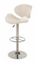 Chintaly Oversize Pneumatic Swivel Stool - Chrome/ White - 1376-AS-WHT
