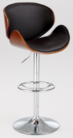 Chintaly Oversized Pneumatic Swivel Stool - Chrome & Walnut - 1403-AS-BRW