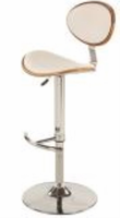 Chintaly Plywood Back&Seat Pneumatic Stool - Chrome/ Walnut - 1309-AS-WHT