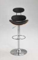 Chintaly Plywood Designed Back Pneumatic Stool - Chrome & Walnut - 1438-AS-BLK