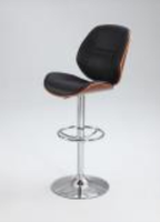 Chintaly Plywood Pneumatic Swivel Stool - Chrome & Walnut - 1433-AS-BLK