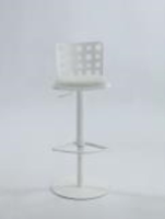 Chintaly Pneumatic Gas Lift Adjustable Height Swivel Stool - Brushed SS Finish(WHT) - 0825-AS-WHT