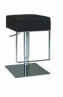 Chintaly Pneumatic Gas Lift Adjustable Height Swivel Stool - Brushed Stainless Steel BLK(0811) - 0811-AS-BLK