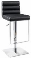 Chintaly Pneumatic Gas Lift Adjustable Height Swivel Stool - Brushed Stainless Steel BLK(0830) - 0830-AS-BLK