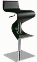 Chintaly Pneumatic Gas Lift Adjustable Height Swivel Stool - Brushed Stainless Steel BLK(0833) - 0833-AS-BLK