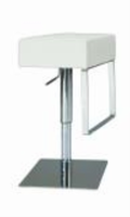 Chintaly Pneumatic Gas Lift Adjustable Height Swivel Stool - Brushed Stainless Steel WHT(0811) - 0811-AS-WHT