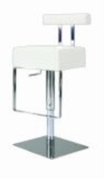 Chintaly Pneumatic Gas Lift Adjustable Height Swivel Stool - Brushed Stainless Steel WHT(0812) - 0812-AS-WHT