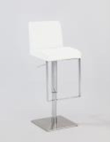 Chintaly Pneumatic Gas Lift Adjustable Height Swivel Stool - Brushed Stainless Steel WHT(0813) - 0813-AS-WHT