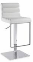 Chintaly Pneumatic Gas Lift Adjustable Height Swivel Stool - Brushed Stainless Steel WHT(0830) - 0830-AS-WHT