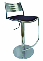 Chintaly Pneumatic Gas Lift Adjustable Height Swivel Stool - Shiny Stainless Steel Finish(0511) - 0511-AS