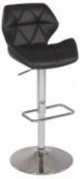 Chintaly Pneumatic Gas Lift Swivel Height Stool - Chrome Finish BLK( 0645) - 0645-AS-BLK