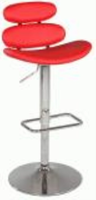 Chintaly Pneumatic Gas Lift Swivel Height Stool - Chrome RED - 0642-AS-RED