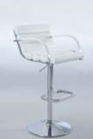 Chintaly Pneumatic Gas Lift Swivel Height Stool - Chrome WHT(0661) - 0661-AS-WHT