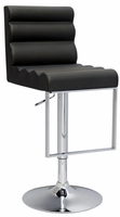 Chintaly Pneumatic Gas Lift Swivel Height Stool - Gloss Chrome Finish(0357) - BLK - 0357-AS-BLK