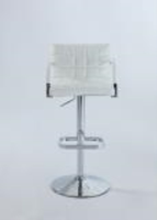 Chintaly Quilted-Back Pneumatic Gas Lift Swivel Stool - Chrome - 0660-AS-WHT