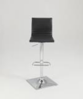 Chintaly Ribbed Back Adjustable Stool - Chrome - 1830-AS-BLK